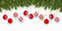 Festive Christmas Or New Year Background. Christmas Fir-tree Branches With Confetti And Xmas Red Balls. Holiday's Background. Vector Illustration