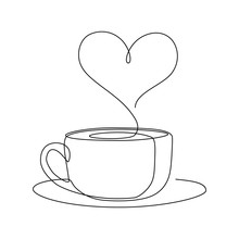 Hot Coffee Cup With Heart Shap...