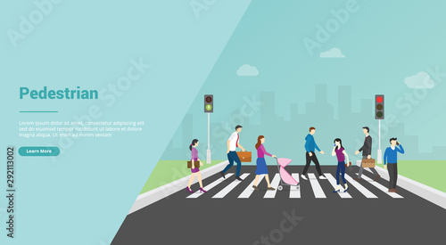 Photo pedestrian crossing for website template or banner landing homepage - vector
