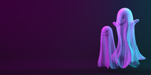 Ghost On Black Blue Purple Background, Vibrant Color, Neon Flourescent. Copy Space Text Area. Design Creative Concept Of Happy Halloween Celebration Holiday. 3D Rendering Illustration.