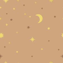 Seamless Pattern With Moon And Stars. Delicate Beige Vector Background With Cute Magic Night Illustrations. Festive Graphic Paper With Golden Stars