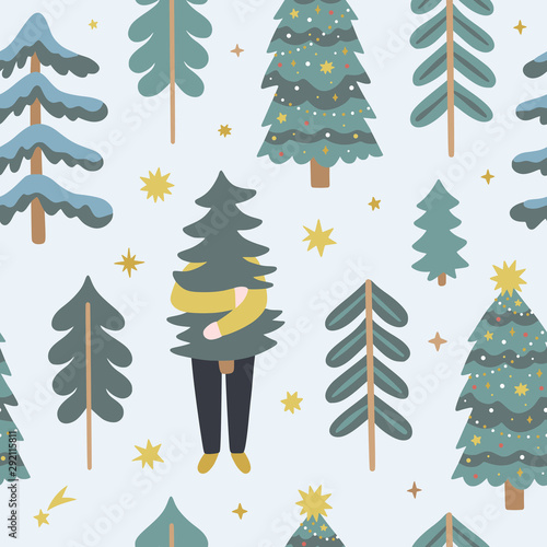 Türaufkleber Künstlich Christmas pattern with cute fir-trees and funny character. Vector background with winter forest and seasonal decorations. Happy holidays seamless fabric