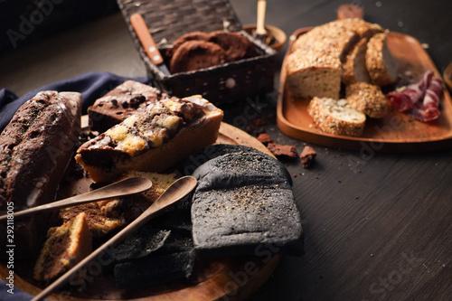 Fotobehang Brood bacon bread cookies brownie pastry bakery. baked food