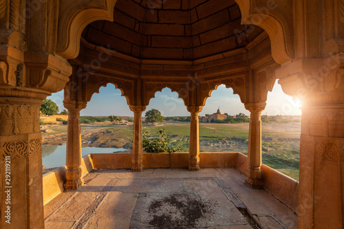 Photo sur Toile Pays d Afrique Pavillion at Amar Sagar lake, Jaisalmer, Rajasthan, India
