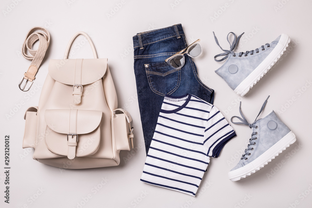 Fototapety, obrazy: Clothing outfit - white backpack, jeans, striped t shirt, blue sneakers