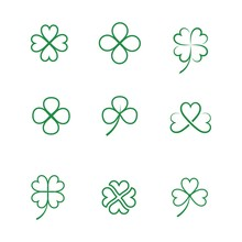 Green Clover Leaf  Icon Template