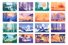 Collection Of Beautiful Scene Of Nature, Peaceful Landscape With Wild Animals In Different Time Of Day, Templates For Banner, Poster, Magazine, Cover Horizontal Vector Illustration