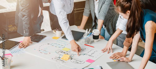 Fotomural topview of creative agency business brain storm meeting presentation Team discus