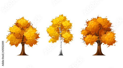 Vector set of autumn deciduous trees isolated on a white background Canvas Print