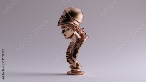 Fotomural Bronze Minerva Bust Sculpture Left View 3d illustration 3d render