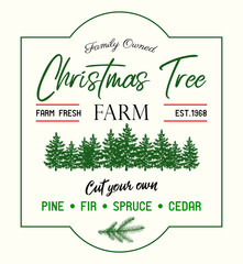 Christmas tree Farm retro vector advertising sign