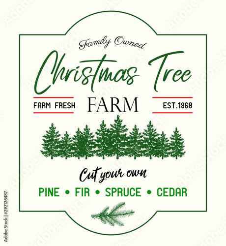 Photo  Christmas tree Farm retro vector advertising sign