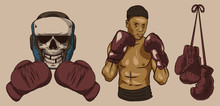 Isolated Illustrations Of Boxer, Boxing Gloves And Dead Boxer.
