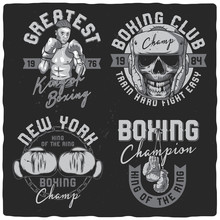 Set Of Labels For T-shirts. Boxing Theme. Black And White. Illustrations With Lettering.