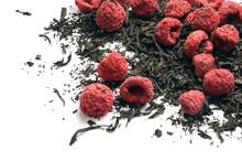 Black Dry Tea And Dried Raspbe...