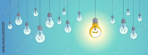 Idea concept, think different, light bulbs group vector illustration with single one is shining, creative inspiration, be special, leadership.