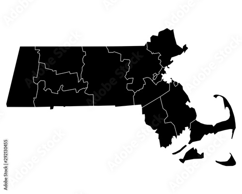 Fotografie, Obraz Karte von Massachusetts