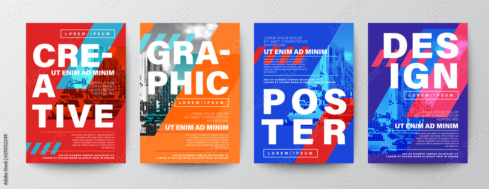 Fototapeta Set of Creative Graphic Design layout. Typography on diagonal grid with red and blue background for Poster, Brochure, Flyer, leaflet, Annual report, Book cover, banner. Template in A4 size.