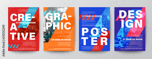 Fototapeta Set of Creative Graphic Design layout. Typography on diagonal grid with red and blue background for Poster, Brochure, Flyer, leaflet, Annual report, Book cover, banner. Template in A4 size. obraz