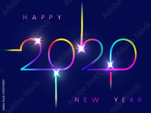 2020 happy New Year background. Vector holiday greeting card. Shiny festive design with neon light effect numbers. Fototapete