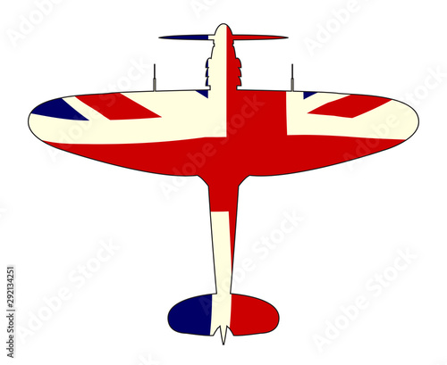 World War 2 Fighter Union Jack Silhouette Fototapet
