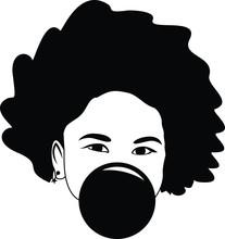 Afro Girl Bubble Gum Vector Si...