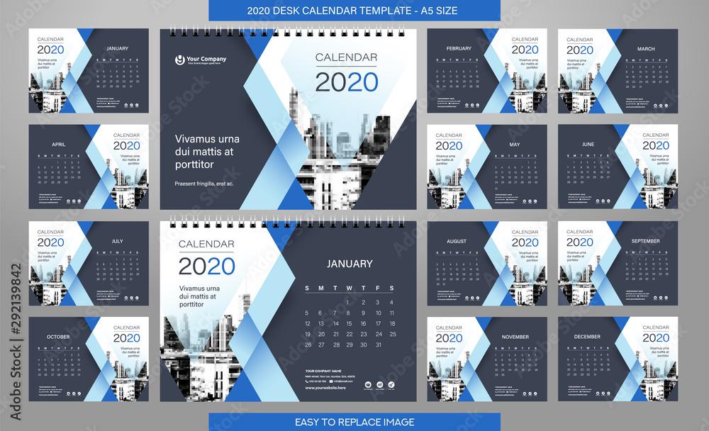 Fototapeta Desk Calendar 2020 template - 12 months included - A5 Size