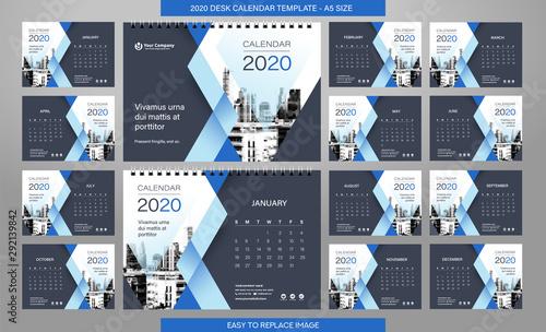Vászonkép  Desk Calendar 2020 template - 12 months included - A5 Size