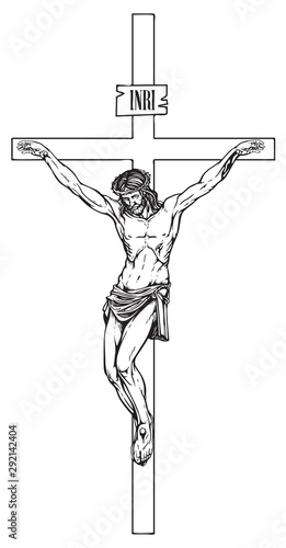 Leinwand Poster Vector illustration of the religious symbol crucifixion