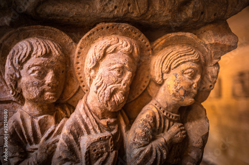 Romanesque Capital in Cloisters Church of Saint Trophime Cathedral in Arles Canvas Print