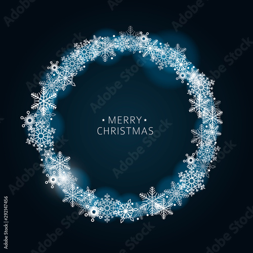 Cuadros en Lienzo  Dark vector blue background winter frame with shiny snowflakes