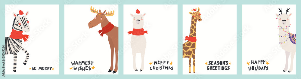 Fototapety, obrazy: Collection of Christmas cards with cute zebra, giraffe, llama, moose in Santa hats, reindeer antlers, with text. Hand drawn vector illustration. Scandinavian style flat design. Concept for kids print.