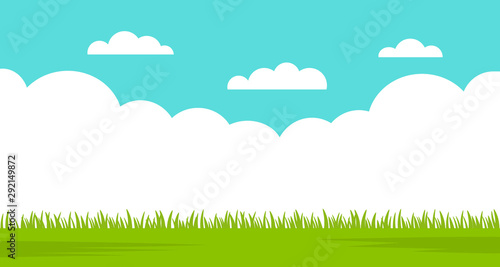 Beautiful summer landscape - blue sky and green grass. vector