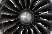 Close-up Of A Large Jet Engine...