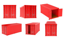 Red Shipping Freight Container...