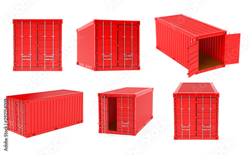 Carta da parati Red shipping freight containers. 3d rendering illustration