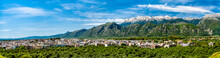 Panorama Of Sparta With Taygetos Mountains In Greece