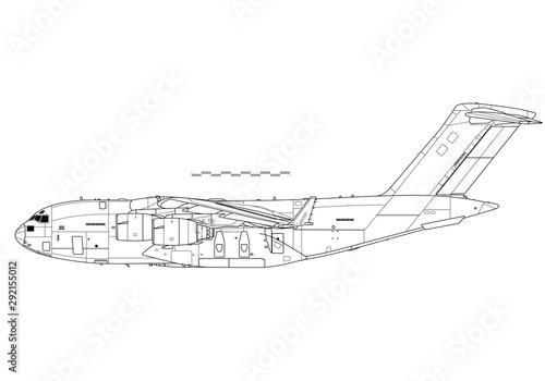Boeing C-17 Globemaster III. Outline vector drawing Wallpaper Mural