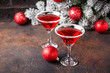 canvas print picture - Christmas festive cocktail red martini