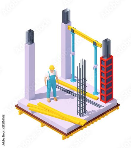 Stampa su Tela Vector isometric concrete building construction