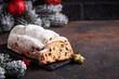 Leinwandbild Motiv Traditional German Christmas cake stollen