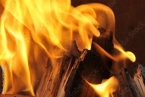Valokuva  Abstract Fire Textures surface background closeup Set
