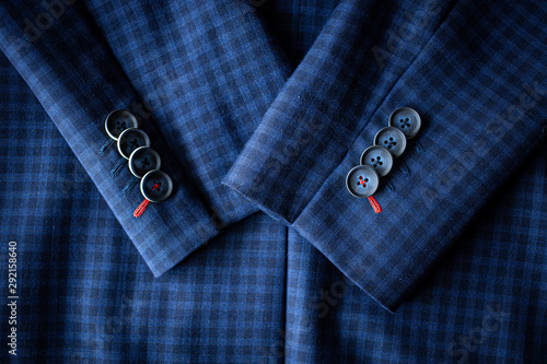 Fényképezés  Top view of the Blue suit with sleeves with buttons