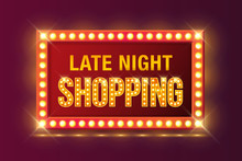 Late Night Shopping Sign In Retro Neon Glowing Frame