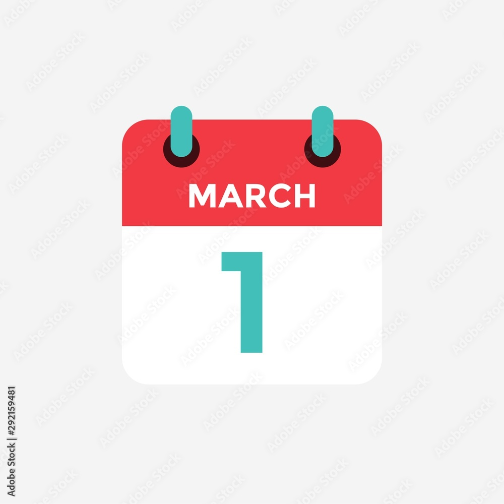 Fototapeta Flat icon calendar 1 of March. Date, day and month. Vector illustration.