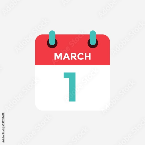 Obraz Flat icon calendar 1 of March. Date, day and month. Vector illustration. - fototapety do salonu