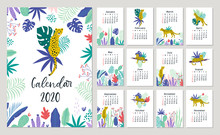 Calendar 2020 With Cute Leopards. Hand Drawn Vector