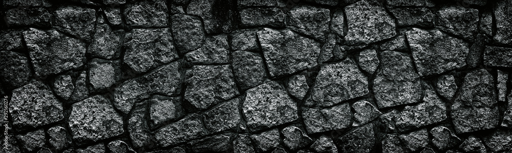 Fototapety, obrazy: Natural granite stone wall wide texture. Dark rock masonry widescreen gloomy gothic background