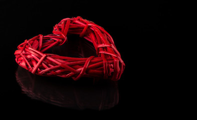 red braided heart of vines ...