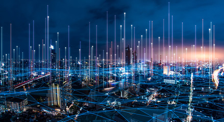 network digital hologram and internet of things on city background.5G network wireless systems.